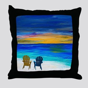 Two of us at the beach Throw Pillow